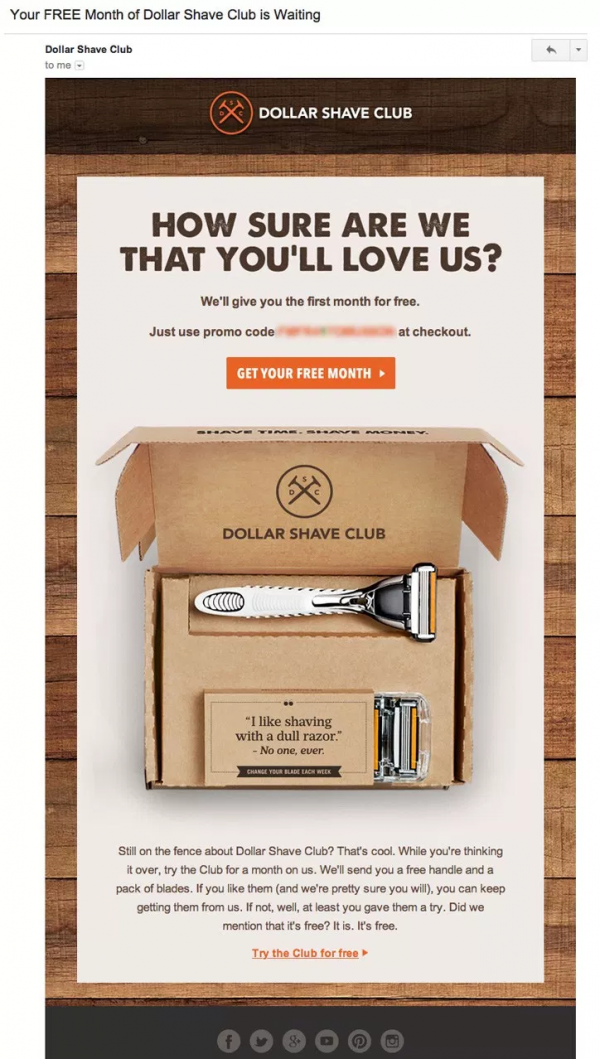 Рассылка от Dollar Shave Club