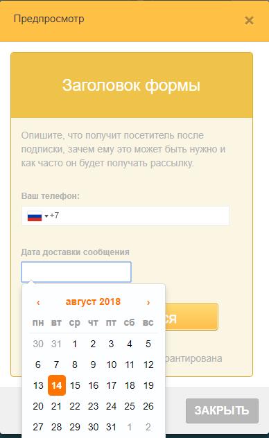 Форма СМС подписки с полями номера и даты доставки сообщения