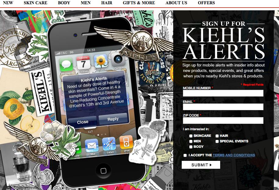 Форма смс подписки компании Kiehl's