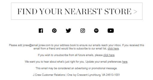 Подвал Email рассылки
