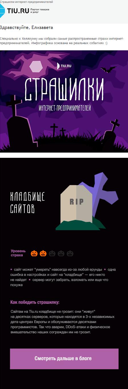 Информационная рассылка на Хэллоуин