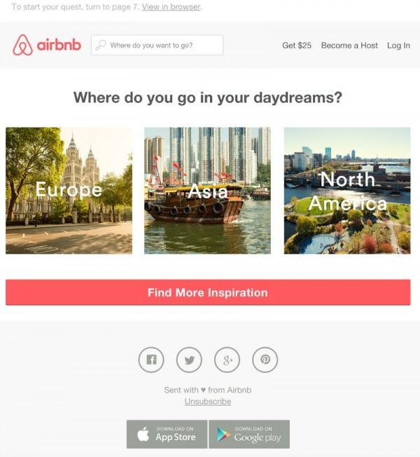 Пример email рассылки сферы туристических услуг